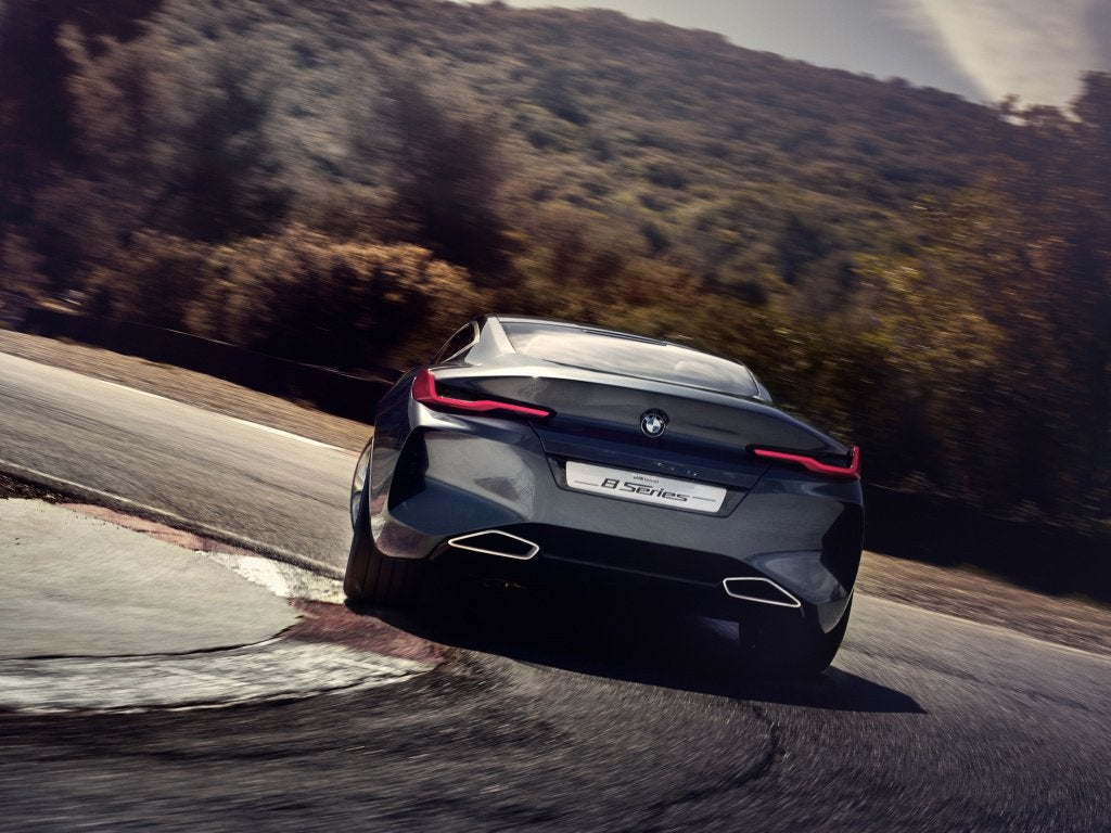 2018 car, BMW Concept 8 Series, rear view, on road wallpaper [1024x768]