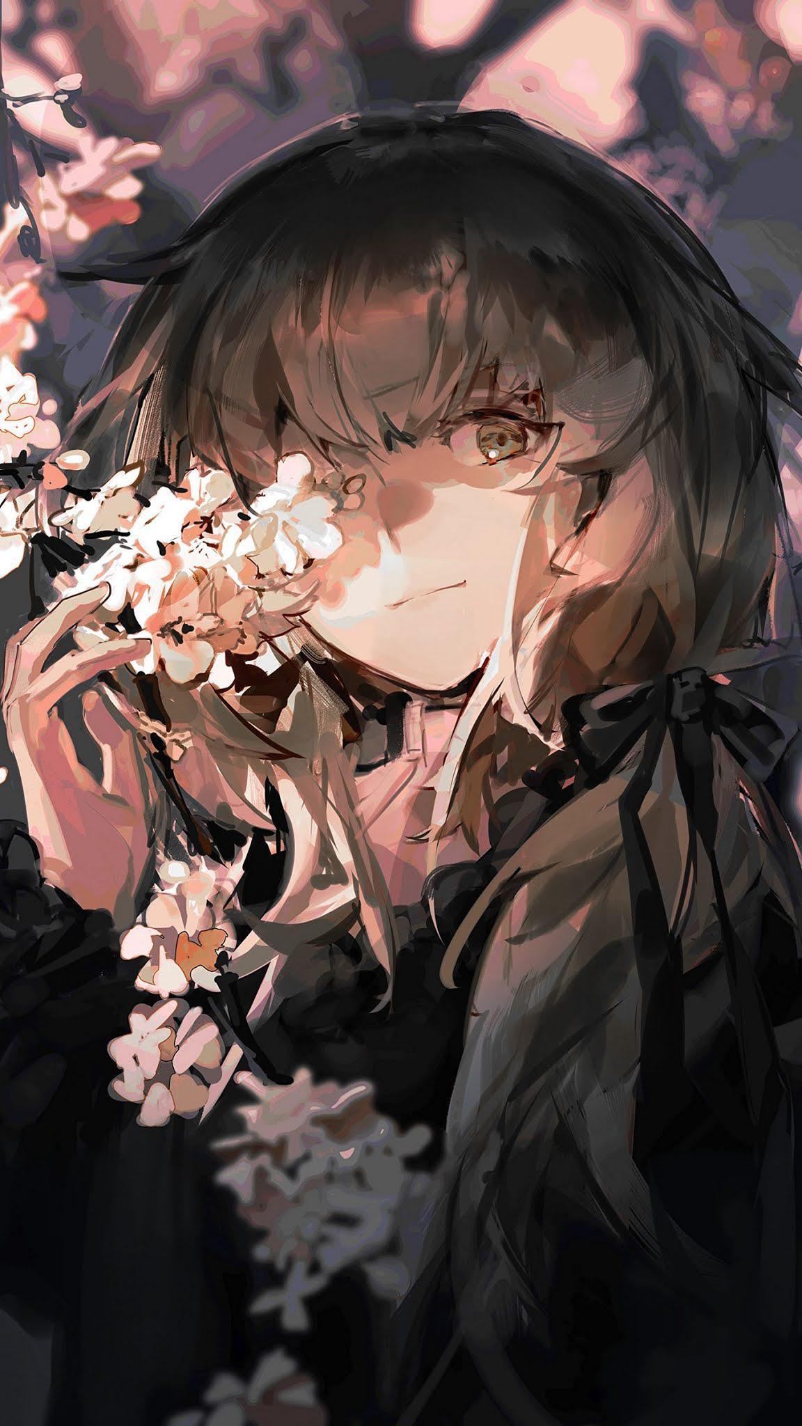 girl, sakura, flowers, anime, art background HD wallpaper 1350x2400